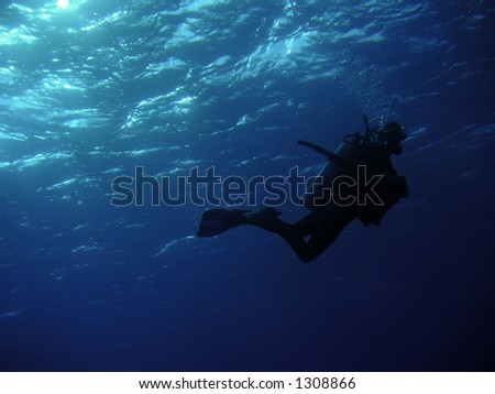 Diver in open water