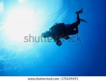 Diver silhouette under water with beautiful sun ray, Hawaii.