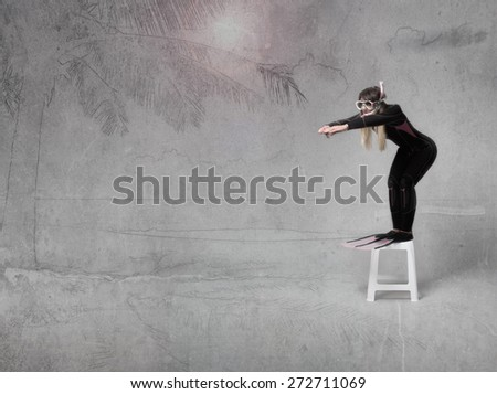 diver sleeper on the beach - stock photo