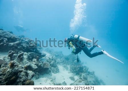diver underwater - stock photo