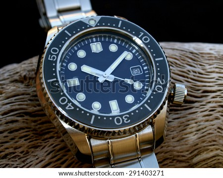 diver watch detail        - stock photo