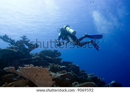 Diver with camera in deep and bubbles. Underwater photographer - stock photo