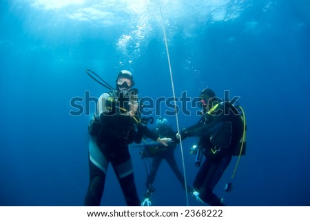 Divers on safetystop on buoy. Croatia - stock photo