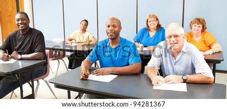 Diverse adult education or college class.  Wide angle banner. - stock photo