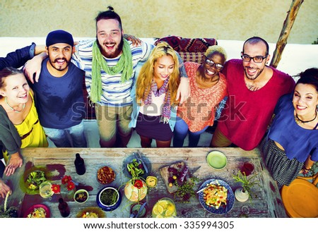 Diverse Beach Summer Friends Holding Together Concept - stock photo