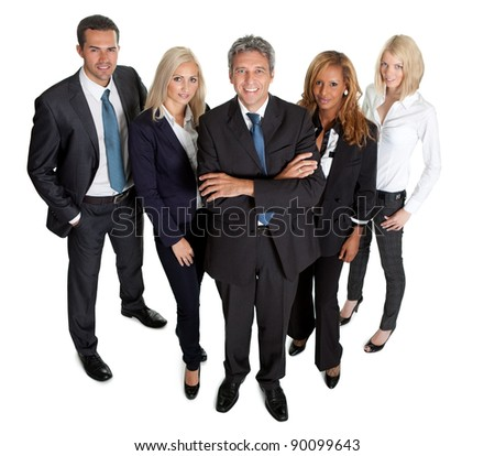 Diverse business group standing proudly together on white