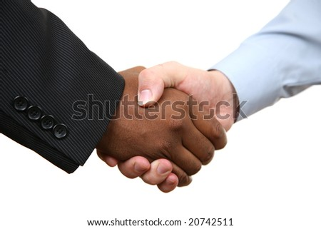 Diverse business male shaking hands. Isolated on white. - stock photo