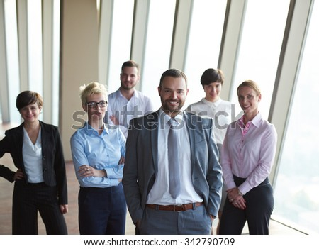diverse business people group standing together stock