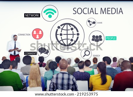 Diverse Business People in a Seminar About Social Media - stock photo