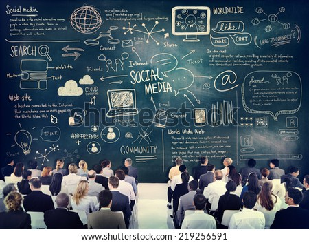 Diverse Business People Learning About Social Media - stock photo