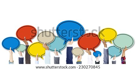 Diverse Business People's Hands Holding Speech Bubbles - stock photo