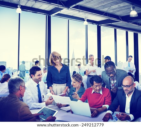 Diverse Business People Working Teamwork Cooperation Cityscape Conference - stock photo
