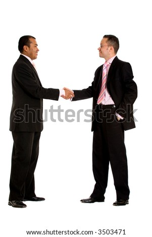 diverse businessmen shaking hands - isolated over a white background