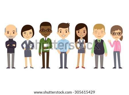 Diverse businesspeople isolated on white background. Different etnicities and dress styles. Cute and simple flat cartoon style. - stock photo