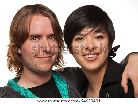 Diverse Caucasian Male and Multiethnic Female Portrait Isolated on a White Background. - stock photo