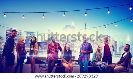 Diverse City Buildings Roof Top Fun Concept - stock photo