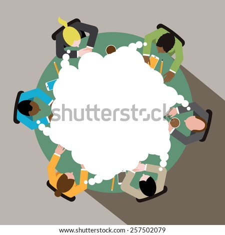 Diverse group of business men and women thinking as a team at round conference table royalty free illustration for ads, poster, flier, signage, promotion, blog, marketing - stock photo
