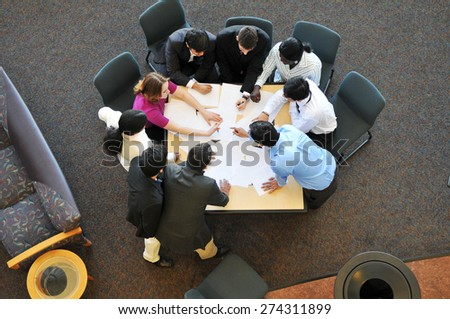 Diverse group of business people during a meeting  - stock photo
