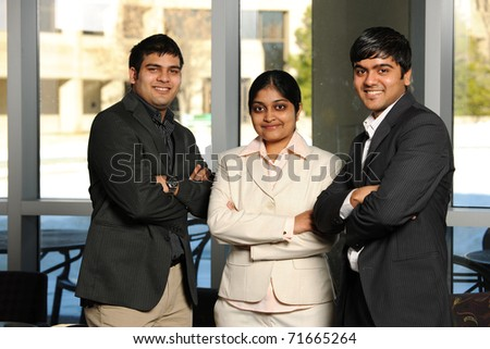Diverse Group of Business People inside an office building