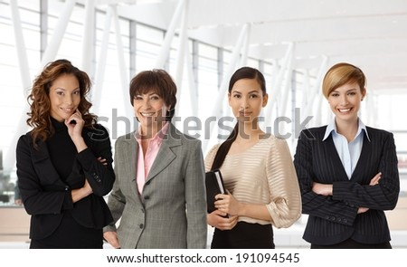 Diverse group of businesswomen of different ethnicity and age at office. - stock photo