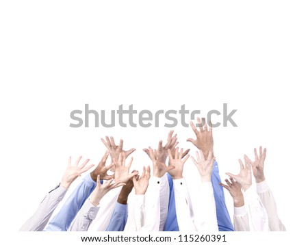 diverse group of hands - stock photo