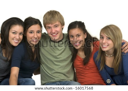 Diverse group of happy friends - stock photo