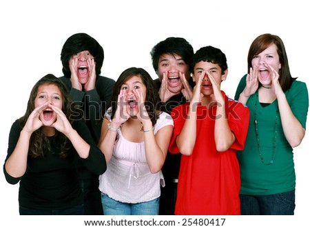 diverse group of multi-ethnic kids shouting - stock photo