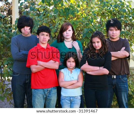 diverse group of multi-ethnic real people teens
