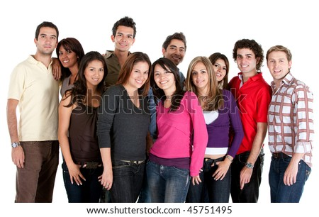 Diverse group of people looking happy isolated on white - stock photo