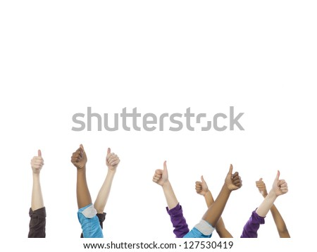 Diverse group of people showing a thumbs up