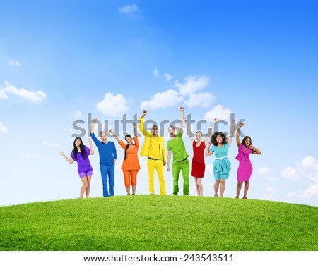 Diverse Group Of People Success Winning Celebration Cheerful