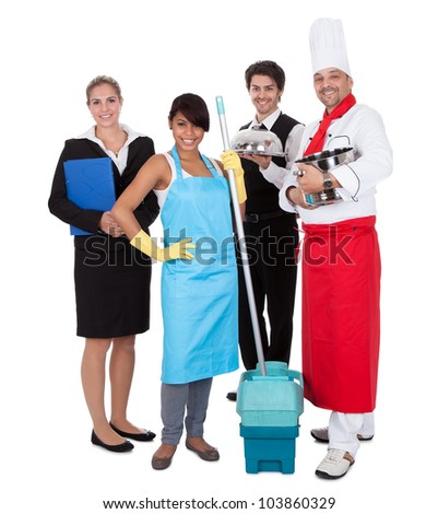 Diverse group of smiling workers. Isolated on white - stock photo