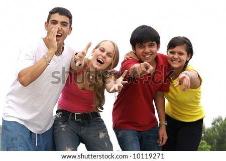 diverse group of teens - stock photo