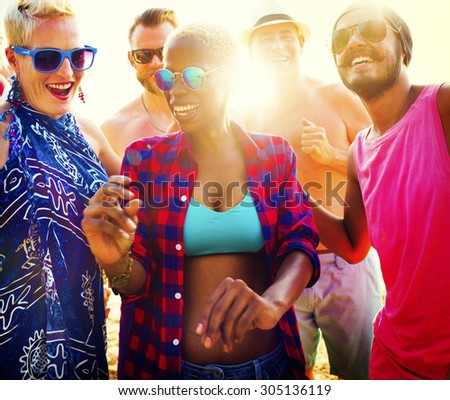 Diverse Group People Beach Party Dancing Concept