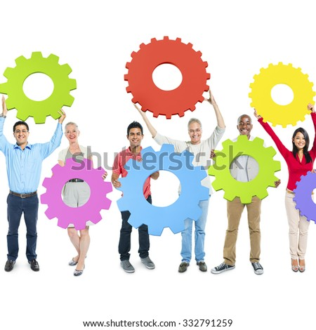 Diverse Group People Holding Gear Teamwork Concept