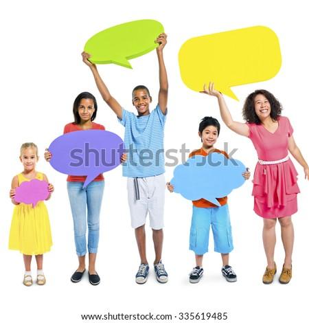 Diverse Group People Kids Holding Speech Bubbles Concept - stock photo