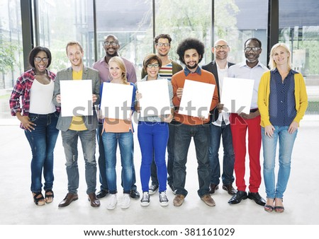Diverse Group People Multiethnic Holding Paper Concept - stock photo