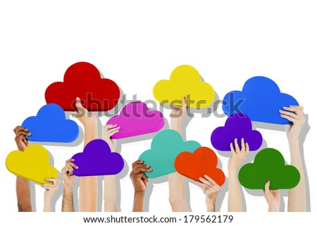 Diverse Hands Holding Colorful Clouds - stock photo