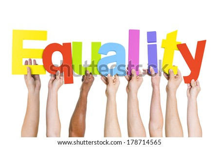 Diverse Hands Holding Colorful Equality - stock photo