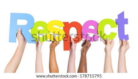 Diverse Hands Holding Colorful Respect - stock photo