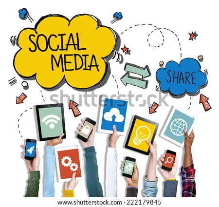 Diverse Hands Holding Devices Social Media Concept - stock photo