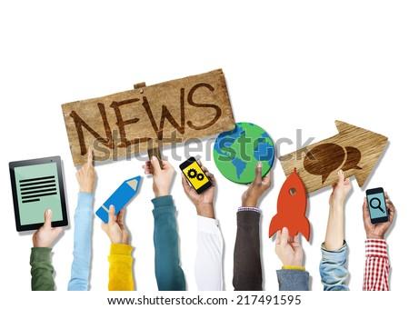 Diverse Hands Holding News Symbols - stock photo