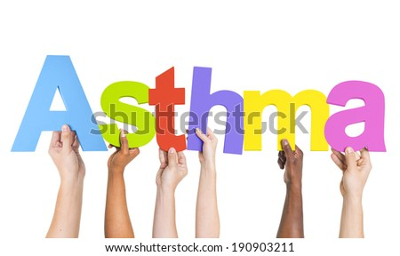 Diverse Hands Holding The Word Asthma - stock photo