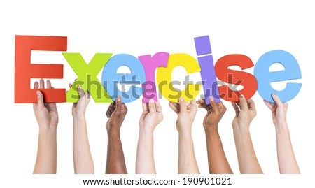 Diverse Hands Holding The Word Exercise - stock photo