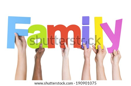 Diverse Hands Holding The Word Family - stock photo