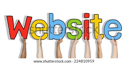 Diverse Hands Holding the Word Website - stock photo