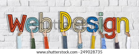 Diverse Hands Holding the Words Web Design - stock photo