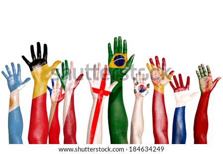 Diverse Hands Painted With National Flags - stock photo