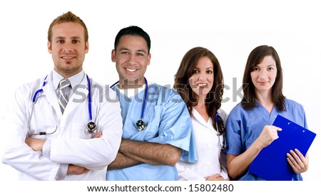 Diverse medical team, isolated on white - stock photo