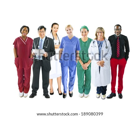 Diverse Multiethnic Cheerful Medical Team - stock photo